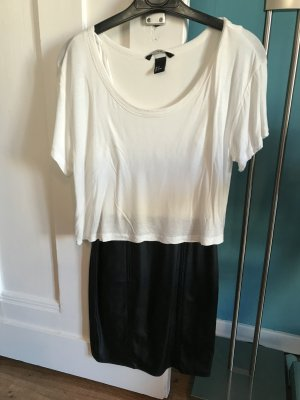 Kleid Lederoptik schwarz weiß von H&M, Größe 34