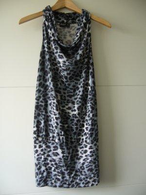 Kleid Leoprint grau schwarz weiß großer Kragen XS 34