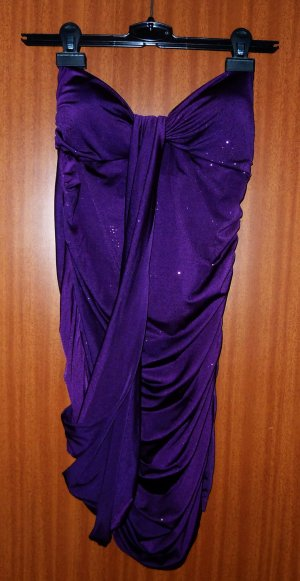 Kleid lila violett Party Gr. XS Glitzerkleid Cut-out Bandeaukleid Silvester