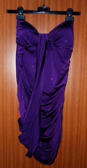 Kleid lila violett Party Gr. XS Glitzerkleid Cut-out Bandeaukleid