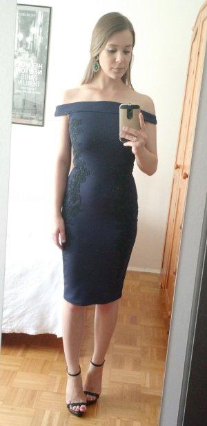 Kleid Lipsy Gr 34 XS Abendkleid Cocktail dunkelblau bodycon blau hochzeit abibal