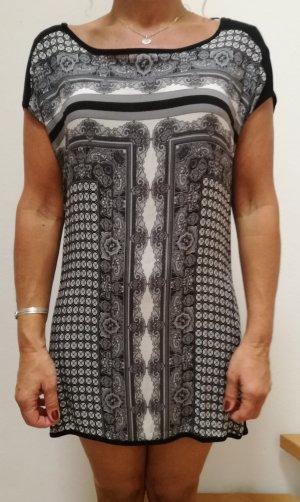 Kleid/ Longbluse Gr. 36 S schwarz grau weiß gemustert Street one