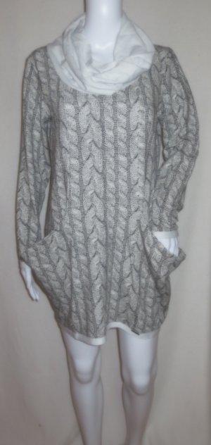Kleid/Longpullover tailliert in grau mit Loop und Kängarutaschen Size: M