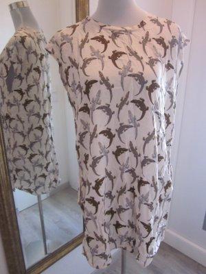 Kleid Longshirt weiss mit Krokos Schlicht Gr 40