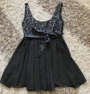 Kleid Longtop Pailletten Ziersteinchen grau Glitzer XS 34 Party Abendkleid Apart