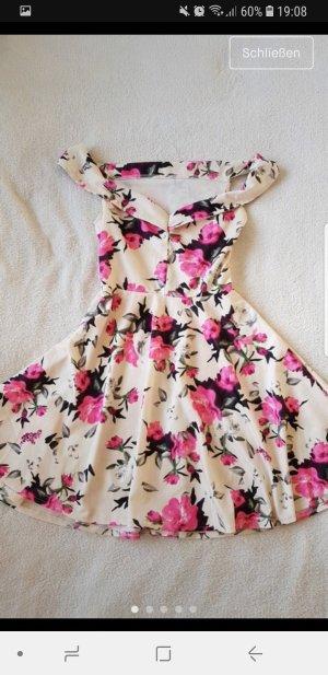 Lookbookstore Off-The-Shoulder Dress cream-raspberry-red