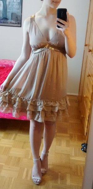 Kleid Mango Seide Gr. XS 34 silk nude beige festlich rüschen luxus feminin