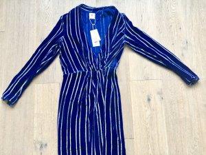 Kleid/Mantel in Blitzblau mit silbernen Streifen