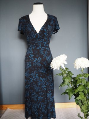 H&M Robe longue noir-bleu acier tissu mixte