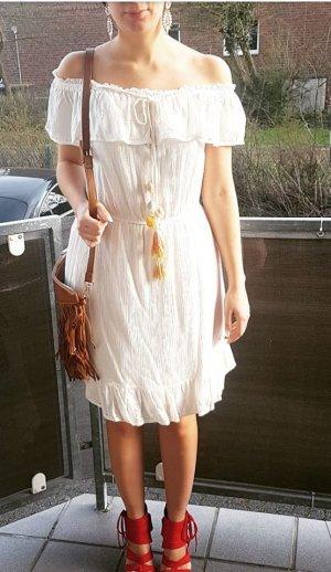 Kleid Maxikleid weiß creme nude blogger hipster boho S Festival off shoulder Volants