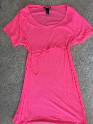 H&M T-shirt jurk neonroos