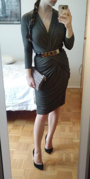 Kleid MaxMara Gr. 38 40 M grau braun Business Langarm Büro Office herbst elegant