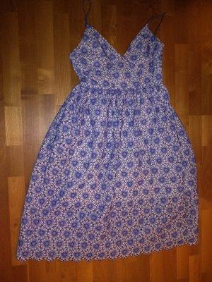 Kleid midi H&M festlich Hochzeit Hochzeitsgast Party blau weiß Spitze 38