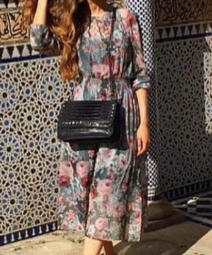 Zara Vestido a media pierna multicolor