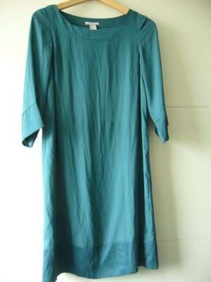 Kleid Midikleid 3/4 Arm dunkelgrünTaillenschnürung seidig fallend H&M XS 34