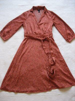 H&M Vestido cruzado rojo oscuro-naranja oscuro