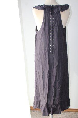 Kleid Midikleid Madonna Viskose Gr. 40 M L dunkelgrau grau gerüscht Sommerkleid knöchellang Nieten
