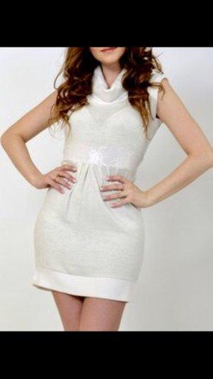 Kleid Mini Kleid Winter Kleid Rollkragenpullover Pailletten weiß Beige crem