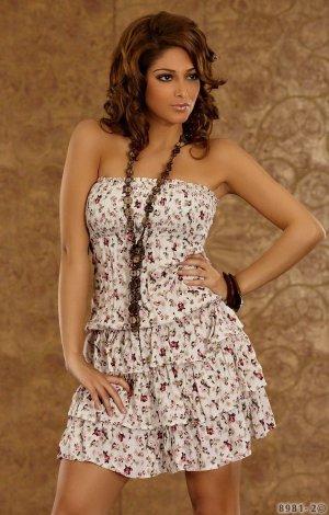 Kleid Mini Strandkleid Bandeaukleid Blumenmuster Volant Rock Hippielook Coachella