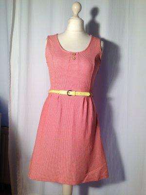 Kleid Minikleid Ärmellos Hippie Boho tailliert kariert orange weiß Gr. M