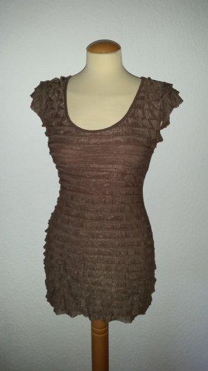 Kleid Minikleid braun Vollant Gr. M