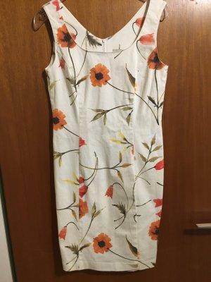 Kleid Minikleid Etuikleid weiß mit Blumen sexy Gr. 38