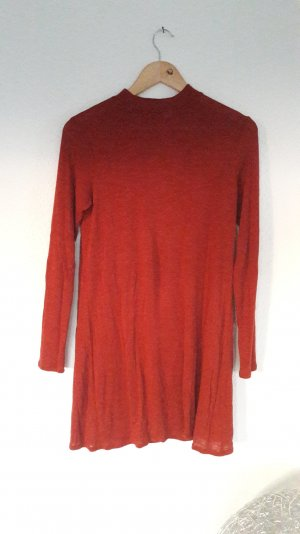 Kleid Minikleid Langarm Turtleneck Hippie Boho  Rot