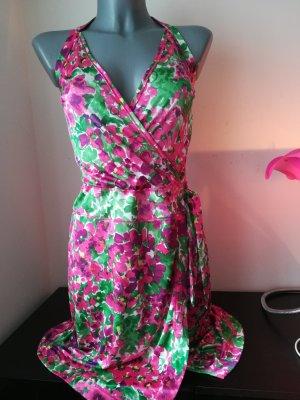 Kleid Minikleid Neckholder Benetton Gr. XS geblümt Blümchen neuwertig