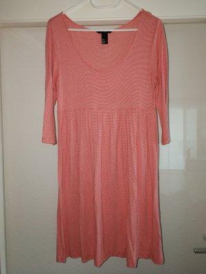 H&M Vestido estilo camisa rojo-blanco Viscosa