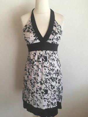 Kleid Minikleid Sommerkleid Neckholder schwarz weiß gemustert sexy Gr. 38