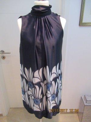 Kleid Minkleid Cocktailkleid Neckholderkleid von Zara in Groesse L Schwarz Blau Weiss