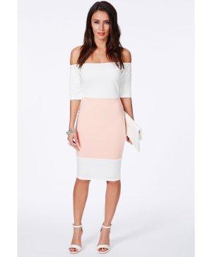 Kleid missguided rosa/weiß Bleistiftkleid