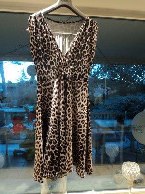 Vestido de manga corta negro-marrón Sintético