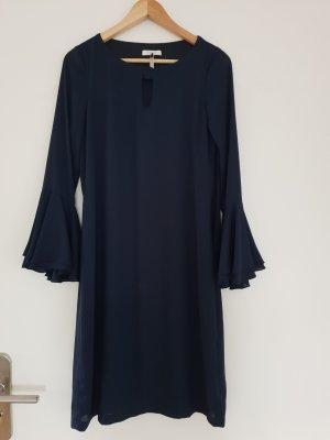 Volante jurk blauw-donkerblauw