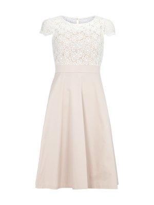 Kleid mit Besatz aus floraler Spitze - Weiß