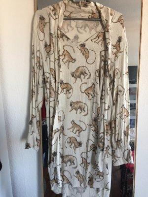 Kleid mit Bindekragen und Animal Print