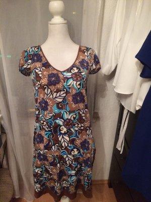 Kleid mit Blumenmuster dunkler Untergrund S Vintage