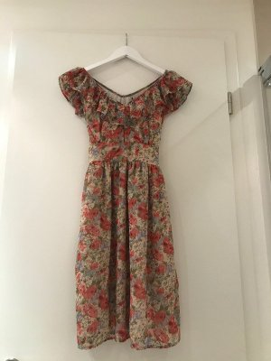 Zara Vestido estilo flounce multicolor Algodón