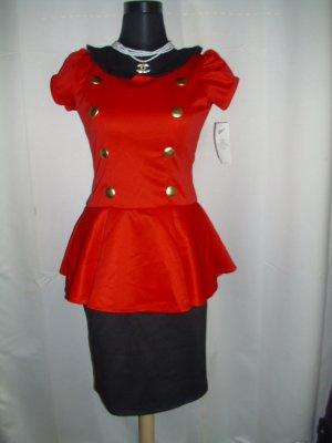 Kleid mit Bubikragen und Schößchen in rot-schwarz Größe M = 38
