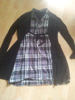 Kleid mit Cardigan schwarz grau kariert Gr.46