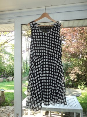 Shortsleeve Dress black-white polyester