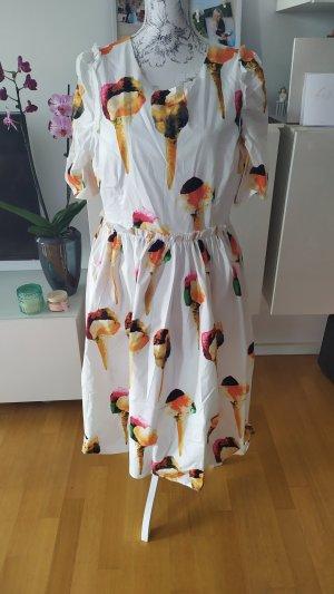 Kleid mit Eiswaffel Print weiss bunt Gr 44 neu