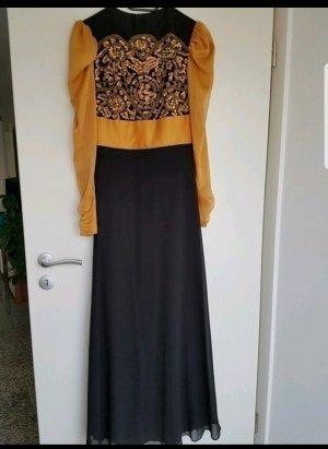 Kleid mit gelb-orangen Pailletten