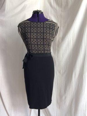 1.2.3 Paris Vestido ceñido de tubo negro-blanco Viscosa