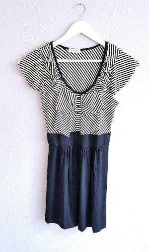 Kleid mit großer Schleife Marine Look Blau Weiß Gr. M