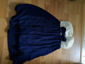 Off the shoulder jurk wit-donkerblauw