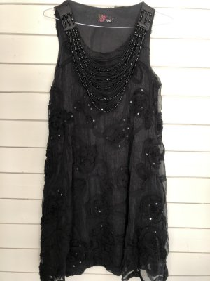 Yumi Robe à paillettes noir-argenté polyester