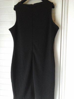Kleid mit Leder in schwarz