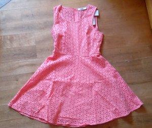 Kleid mit Lochstickerei Skaterkleid Justfab rosa pfirsich neu Gr. 40