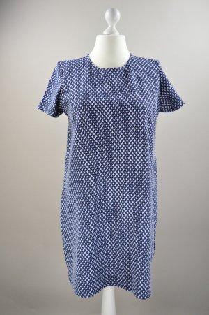 Kleid mit Muster und Struktur blau Größe 46